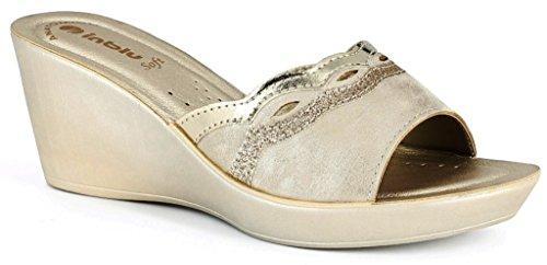 INBLU - Zapatillas de estar por casa de piel sintética para mujer beige arena 38