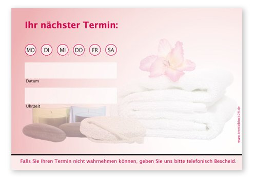je 50 Terminzettel f/ür /Ärzte 10 Bl/öcke Massage Physio Heilpraktiker Terminblock Trend