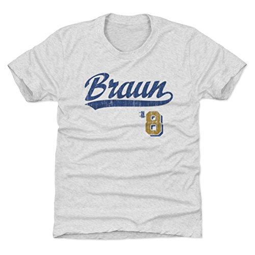 500 LEVEL Milwaukee Baseball Youth Shirt - Kids Small (6-7Y) Tri Ash - Ryan Braun Script B