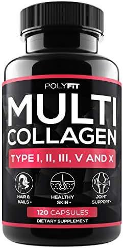 Multi Collagen Protein Capsules - 120 Collagen Pills - Type I, II, III, V, X Hydrolyzed Collagen Peptides for Women & Men