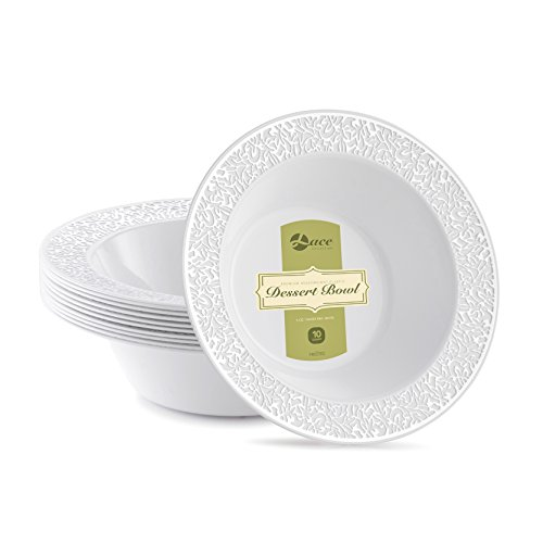 LACE PLASTIC PARTY DISPOSABLE BOWLS | 6 Ounce Hard Round Wedding Plastic Bowls | White with Silver Rim, 40 Pack | Elegant & Fancy Party Supplies Dessert Plates for all Holidays & Occas (Salad Dessert Fruit Bowl)