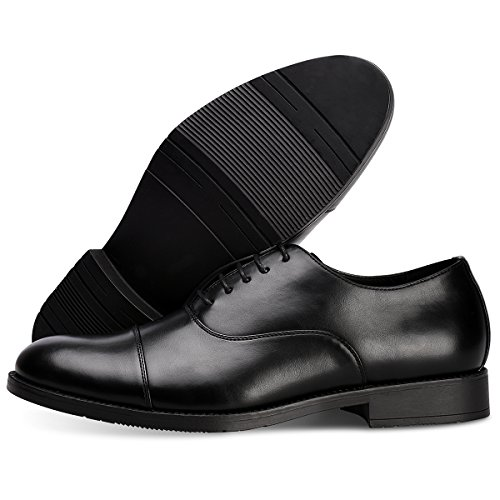 Men's Dress Shoes FormalLeather Oxfords Lace up Black 10.5 by GOLAIMAN (Image #6)