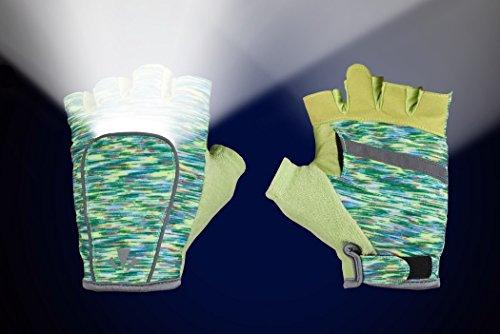 RunLites Mangata - Gloves with Lights - USB Rechargeable LED Lights - Half-Gloves (Green Flecks, Medium) -