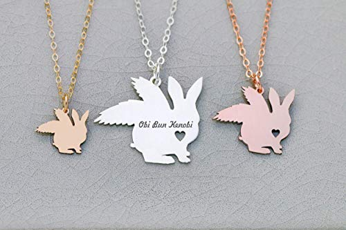 Bunny Rabbit Memorial Necklace - IBD - Pet Memory Gift - Personalize Name Date - Pendant Size - Sterling Silver 14K Rose Gold Charm (Michael Jackson Birth Date And Death Date)