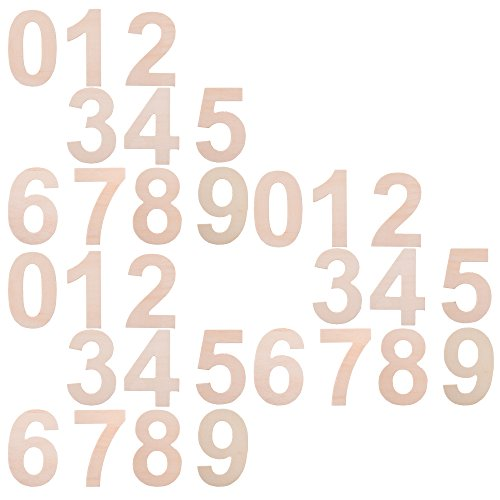 BCP Set of 30pcs Wood Craft Plywood Wooden Number 0 to 9, -