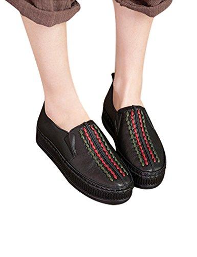 Youlee Mujeres Color Bloquear Cuero Plataforma Zapatos Gris