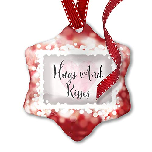 - NEONBLOND Christmas Ornament Hugs and Kisses Valentine's Day Fancy Heart, red