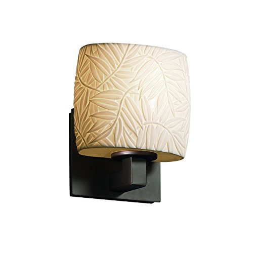 Justice Design Group Limoges 1-Light Wall Sconce - Dark Bronze Finish with Bamboo Translucent Porcelain Shade