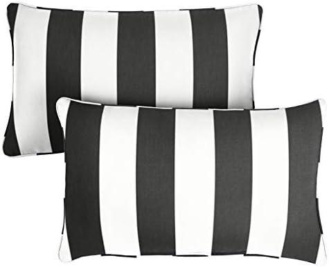 1101Design Sunbrella Cabana Classic Decorative Indoor/Outdoor Lumbar Throw Pillow