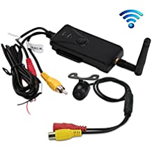 CarBoss Car Backup Camera Waterproof Wireless Realtime WiFi Video Transmitter Receiver Night Vision for iPhone/iPad and Android System Support iPhone IOS Above 4.3 and Android Above 2.2