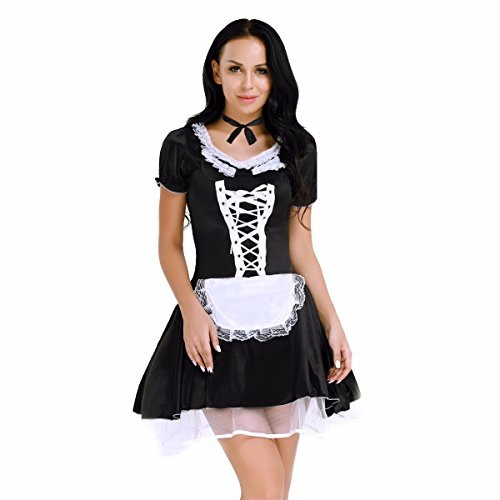 FEESHOW Women French Maid Dress Maidservant Outfits Halloween Cosplay Costume Black (Halloween French Maid Makeup)