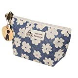 Assorted Large Capacity Floral Pen Holder Stationery Pencil Pouch Travelling Multi-functional Cosmetic Bags Portable Travel (22813cm, Blue)