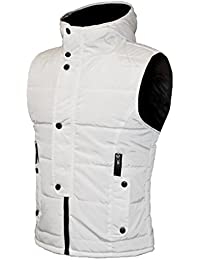 Oberora Mens Stand Collar Hooded Solid Cotton Vest Padded Vest Jacket Outerwear