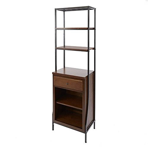 Linen Tower Made of Mixed Material with Open Shelving and Drawer in Warm Wood Color Bathroom Cabinet Furniture