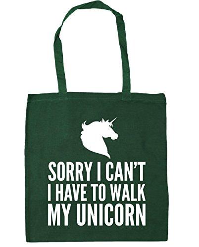 Hippowarehouse Scusa Non Posso Camminare Con Il Mio Unicorno Borsa Da Palestra Borsa Da Palestra 42cm X38cm, 10 Litri - Cotone, Verde Bottiglia, 100% Cotone 100% Cotone, Donne, Taglia Unica