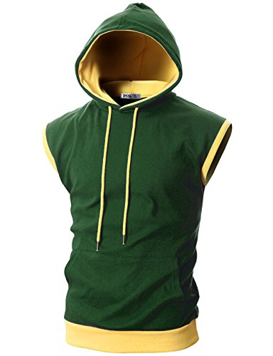 - Ohoo Mens Slim Fit Sleeveless Color Combination Lightweight Hooded Vest /DCF114-GREEN/YELLOW-XL