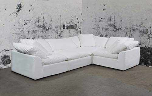 Sunset Trading SU-1458-81-3C-1A Cloud Puff 4 Piece Modular Performance White Sectional Slipcovered Sofa