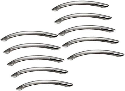 argent Ebeta Lot de 10 poign/ées de tiroir en acier inoxydable bross/é avec poign/ées en forme de courbe et poign/ées de cuisine Argent/é