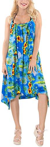 vestito costume Kimono donne coprire bikini bagno k583 maxi casuali beachwear Blu LA delle LEELA Ottanio da 5pz7q7