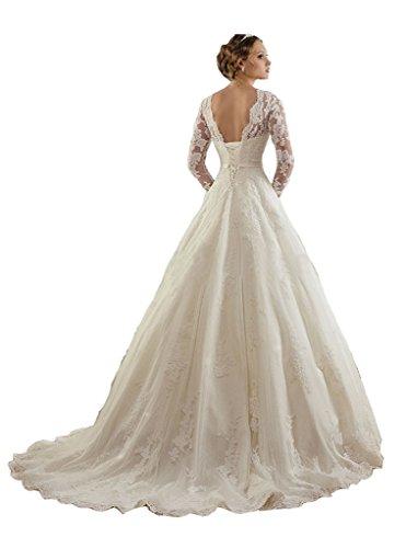 TDHQ Women's Jewel Lace Applique Long Sleeves Sash Chapel Train A Line Wedding Dress White US14