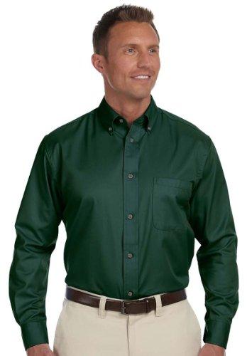 Harriton Men's Long-Sleeve Stain-Release Twill Dress Shirt, Hunter, Medium (Sweater Dress Signature)