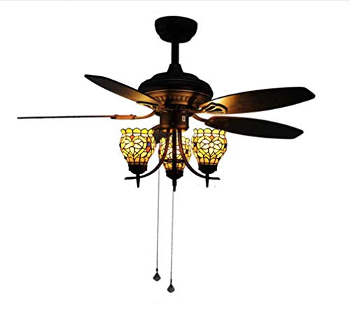 Fan Vintage Ceiling Fan 5 Wood Blades with Tiffany Style Stained Glass 3-Light Lotus Uplight Light Kit, Quiet Handmade Fan Chandelier, Black Finish, for Living Room Dining Room