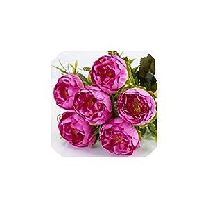 Fashion-LN 6 Head/Bouquet Peony Artificial Flower Silk Peony Bouquet White Pink Wedding Home Decoration,4 24