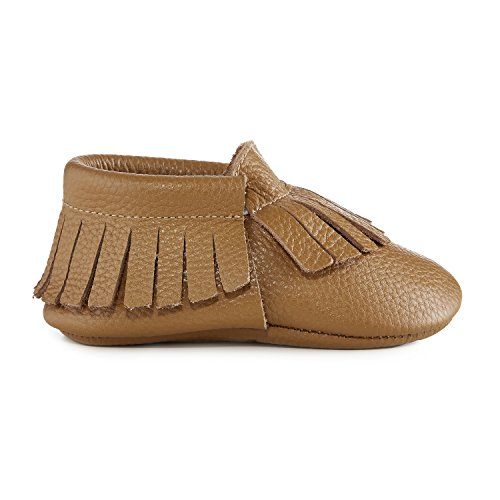 Babe Basics Baby Moccasins by Soft-Soled Genuine Leather Moccasins for Babies and Toddlers (X-Small, Natural) ()