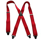 USA Made HoldUp Brand Ski-Ups series bright red X-back Suspenders with Patented Black Gripper Clasps in 1 1/2'' width