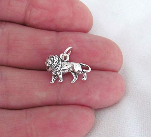 (Sterling Silver 3D Lion Charm Jewelry Making Supply for Charm Pendant Bracelet by Charm Crazy)