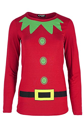 Kids Girls Childrens Elf Costume Xmas Christmas Long Sleeve Jersey T Shirt Top