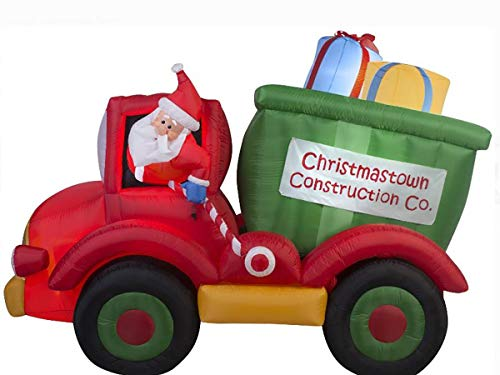 Gemmy Animated Airblown Inflatable Dump Truck with Presents, Over 7.5' Long