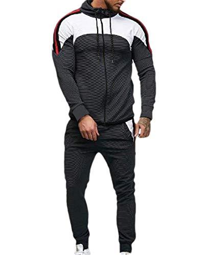 HEFASDM Os homens esportes descontraídos encapuzados contraste 2-Piece Sport Sweat Suit Set Dark Grey S