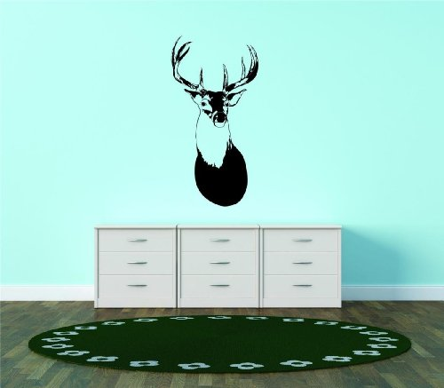 Deer Head Buck Antler Hunting Animal Peel And Stick Sticker Size: 16x31 Color: Black