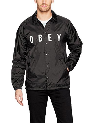 aches Jacket, Black, M (Hooded Nylon Coaches Jacket)