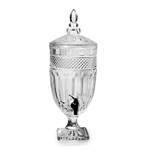 Circleware 66933 Vintage Glory High Class Footed Glass Beverage Drink Dispenser Glassware for Water, Iced Tea Kombucha, Beer Punch and Cold, 1 Gallon, Clear