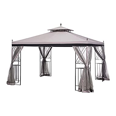 Sunjoy L-GZ288PST-4H Large Parlay Gazebo with Netting, 12' by 10', Tan