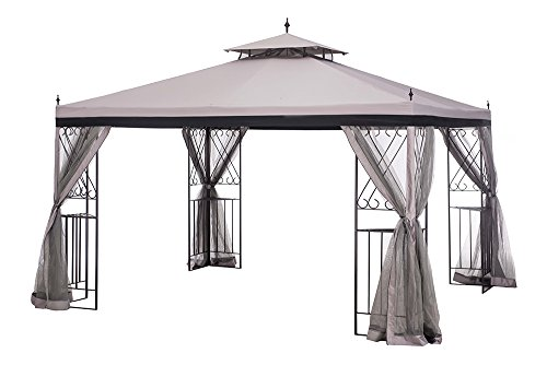 Sunjoy 10' x 12' Monterey Gazebo with Netting,Gray with (Corner Gazebo)