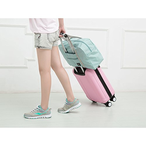 25L Travel Foldable Duffel Bag for Women & Men, Waterproof Lightweight travel Luggage bag for Sports, Gym, Vacation(II-Mint Green) by FUNFEL (Image #6)