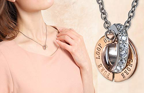 (Magnetic Therapy Necklace for Women Shoulder Pain Stiff Neck Pure Loop Oz W-Ring Made in Japan)