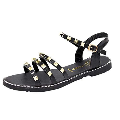 (Toimothcn Women's Gladiator Sandals Casual Rivet Sandals Buckle Ankle Strap Beach Flat Shoes(Black,US:5.5))