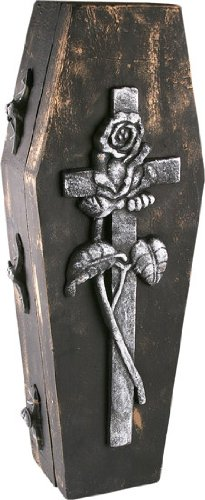 Gothic Fake Halloween Coffin with Rose (Cheap Halloween Coffins For Sale)