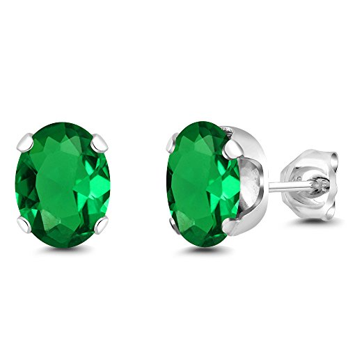 Gem Stone King 925 Sterling Silver 2.60 Ct Oval Cut 8X6MM Simulated Emerald Stud Earrings ()