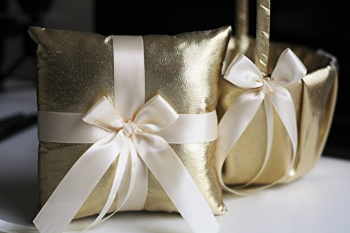 (Alex Emotions Gold Flower Girl Basket and Ring Bearer Pillow Set | Gold Wedding Basket | Gold Ring Holder | Gold Wedding Ring Pillow Gold Collection |)