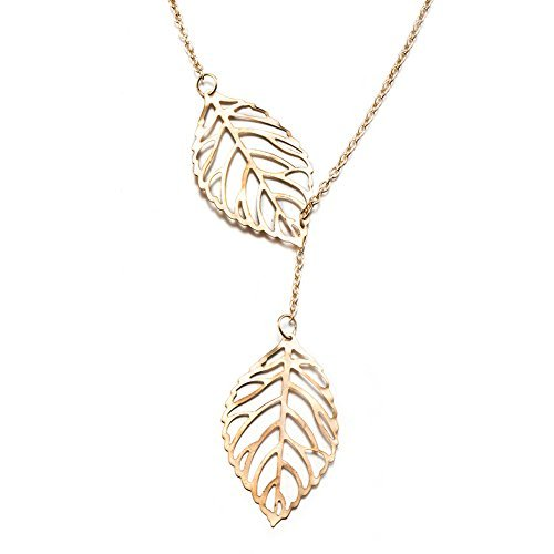 Shaped Gold Leaf - Xiaomei Fashion Womens New Simple Necklace Leaf Y Shaped Metal Double Leaf Pendant Alloy Choker Chain (Gold)