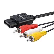 Insten AV Composite Cable compatible with Nintendo 64 N64 / GameCube GC / Super Nintendo SNES, Black