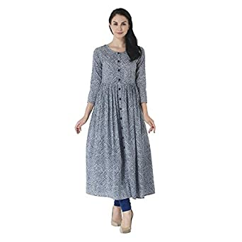 0a483196b God bless casual long blue colour printed flared kurti  Amazon.in ...