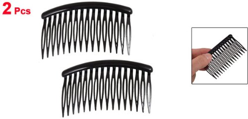 Uxcell Women 16 Teeth Black Plastic Comb Hair Pin Clip Hairdressing Clamp 31 Long 2 Pcs