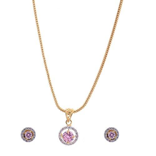 Handicraft Kottage Women's 22 K Gold & Rhodium Plated Pink Sapphire & American Diamond Pendant Set with Earrings & (22k Gold Earring Set)