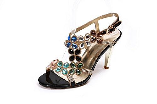 with Studded Rhinestones Open Toe High and Diamond WeenFashion Heels Pu Women's Black Sandals Glass Wnzqf0a8